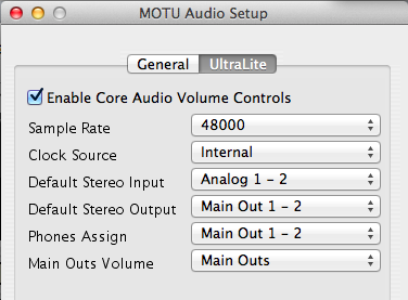 MOTU AUDIO SETUP
